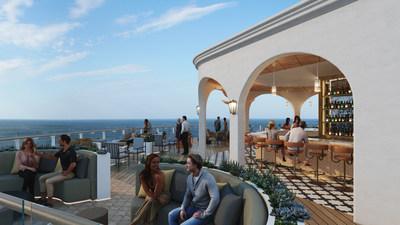 Uno de los espacios más esperados Celebrity Beyond, el Sunset Bar diseñado por Nate Berkus, es casi dos veces más grande que sus versiones anteriores. La escapada de inspiración marroquí, con espacios para conversar y enclaves cubiertos, evoca la Casablanca moderna y seguramente será uno de los puntos más concurridos del mar. Los huéspedes ingresan a través de una entrada cubierta por una pérgola, donde las terrazas en cascada del Sunset Bar se combinan y hacen de este el lugar perfecto para sumergirse en vistas espectaculares y crear memorias inolvidables. (PRNewsfoto/Celebrity Cruises)
